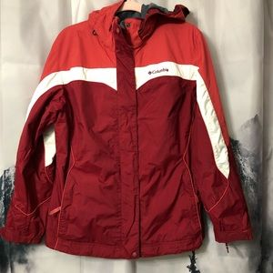 Columbia interchange Jacket red white hooded